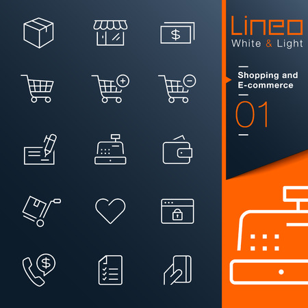 less: Lineo White   Light - Shopping and E-commerce outline icons Illustration