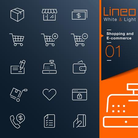 Lineo White Light - Shopping und E-Commerce-Umriss-Symbole