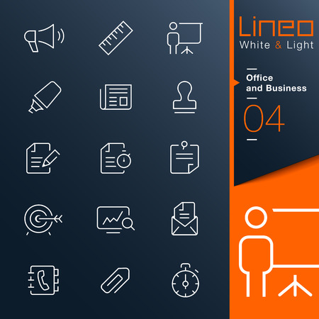 Lineo White   Light - Office and Business outline icons Vector