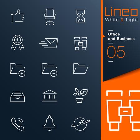 Lineo 화이트 라이트 - 사무실 및 사업 개요 아이콘 일러스트