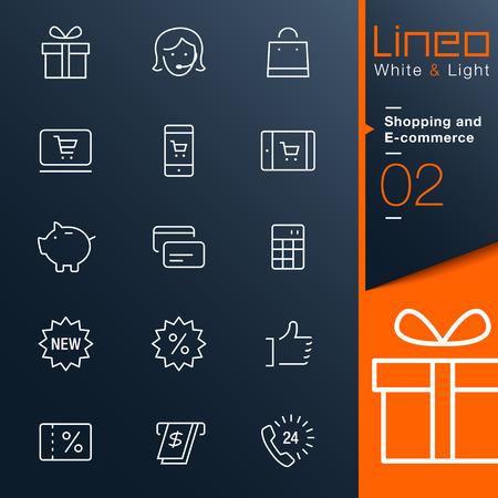 Lineo ホワイト ライト - ショッピング、E コマースの概要アイコン  イラスト・ベクター素材