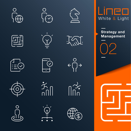 handshake icon: Lineo White   Light - Strategy and Management outline icons Illustration