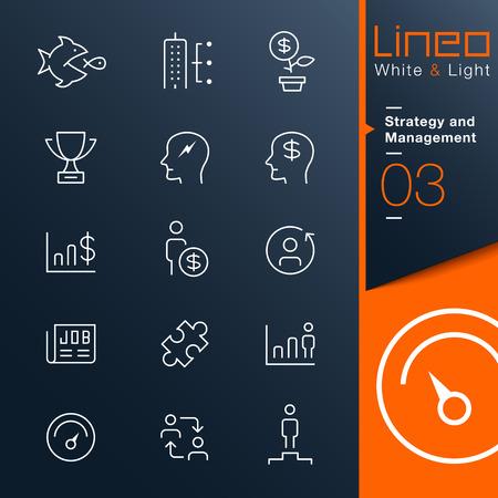 Lineo 화이트 라이트 - 전략 및 관리 개요 아이콘 일러스트