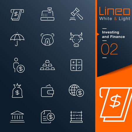 Lineo White   Light - Investing and Finance outline icons Stock Vector - 26580017