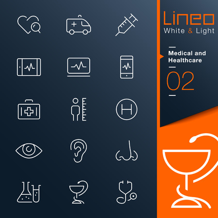 Lineo White   Light - Medical and Healthcare outline icons Vector
