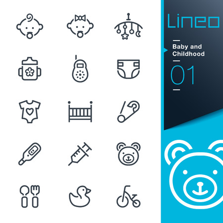 nursing baby: Lineo - Baby and Childhood outline icons Illustration
