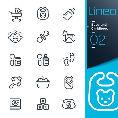 Lineo - 赤ちゃんと子供の頃の概要アイコン  イラスト・ベクター素材