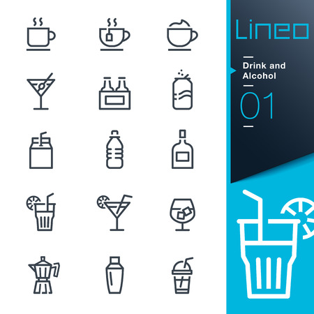 Ikony piciem i alkoholem konspektu - Lineo