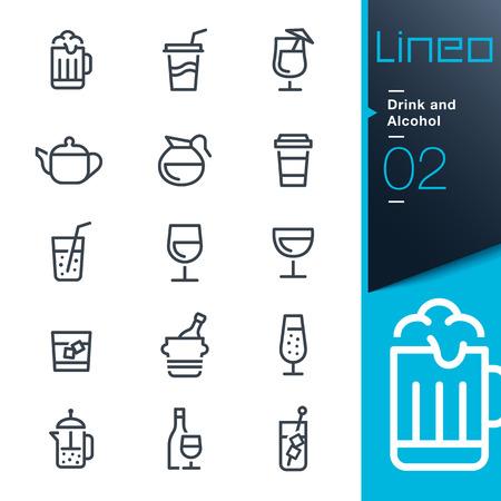rinfreschi: Lineo - Drink e alcol contorno icone Vettoriali