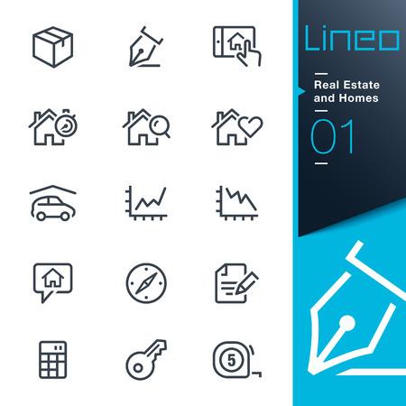 Lineo - Homes Real Estate e contorno di icone Archivio Fotografico - 27438837