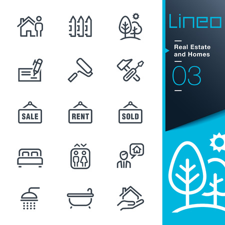 contorno: Iconos Bienes Ra�ces y Casas de contorno - Lineo