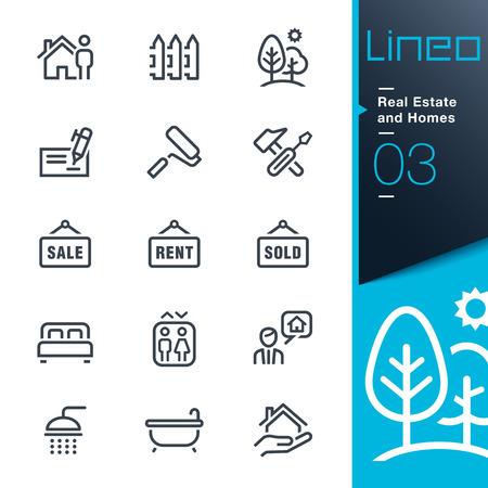 Lineo - Vastgoed en huizen schets iconen