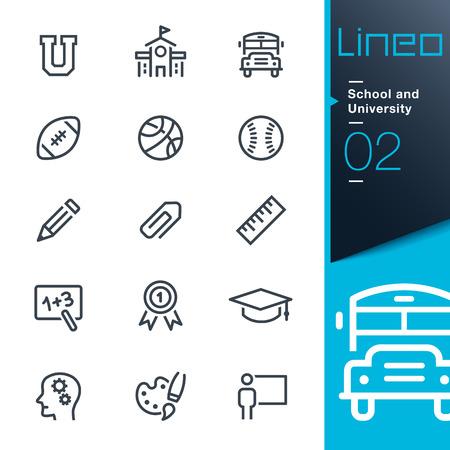 colegio: Lineo - Escuela y universidad iconos de contorno Vectores