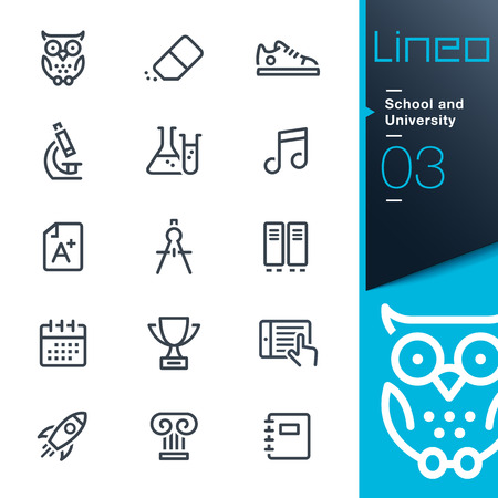 colegios: Lineo - Escuela y universidad iconos de contorno Vectores