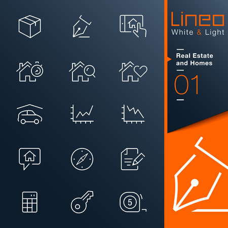 Lineo White   Light - Real Estate and Homes outline icons Vector