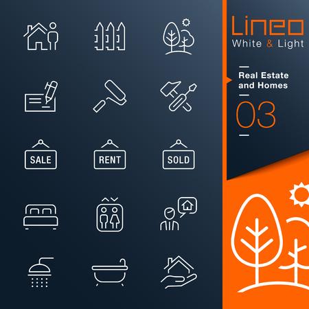 Lineo White Light - Immobilien und Wohnungen Umriss-Symbole Illustration