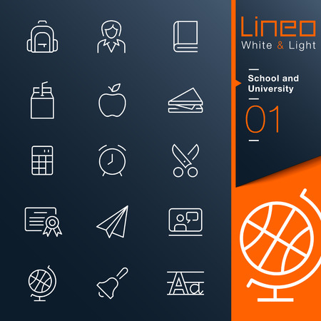 Lineo White   Light - School and University outline icons Vector