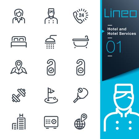 icono deportes: Lineo - hotel y hotel Servicios contorno iconos Vectores