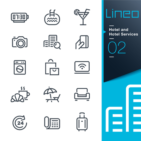 breakfast hotel: Lineo - Hotel and Hotel Services outline icons
