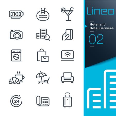 icone tonde: Lineo - Hotel e l'Hotel Servizi contorno icone Vettoriali