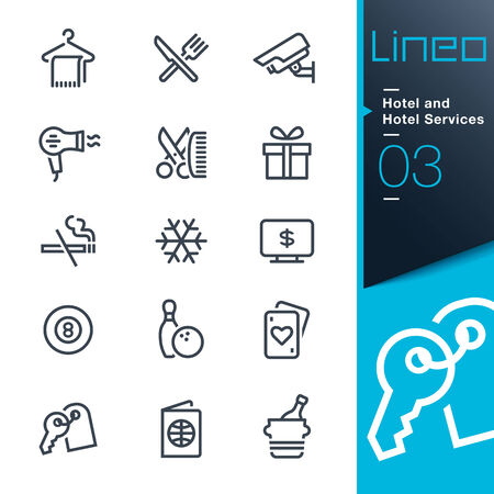reception hotel: Lineo - Hotel and Hotel Services outline icons