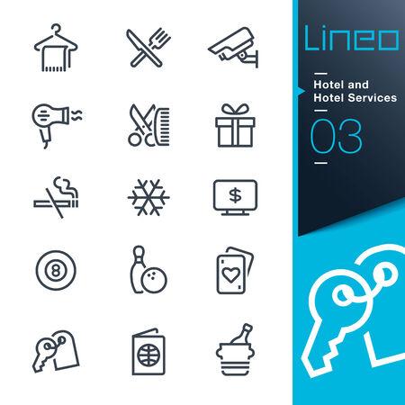 Lineo - Hotel-und Hotel-Dienstleistungen Umriss-Symbole