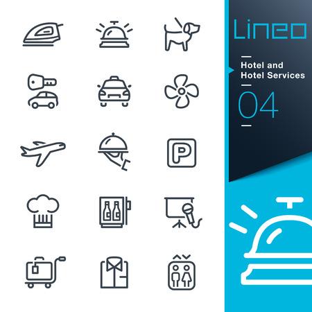campanas: Lineo - hotel y hotel Servicios contorno iconos Vectores