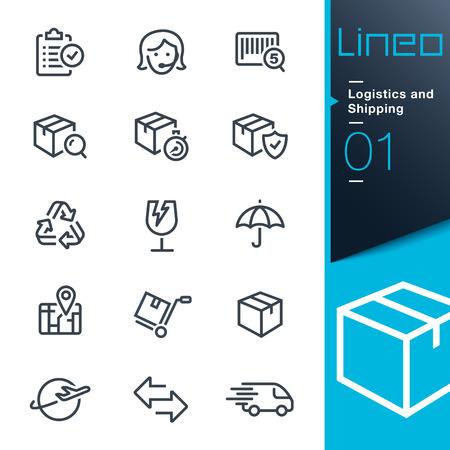 szállítás: Lineo - Logisztika és szállítás vázlat ikonok