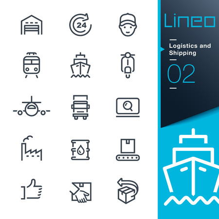 commerce and industry: Lineo - Logistics and Shipping outline icons