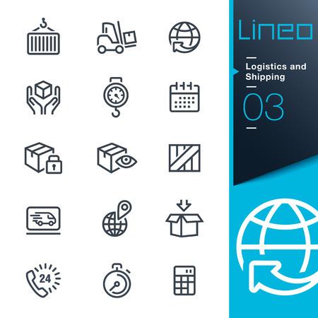 Lineo - Logística y envío iconos de contorno Ilustración de vector