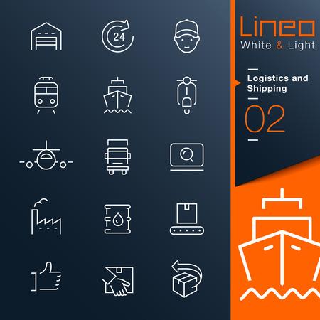 szállítás: Lineo White Light - Logisztika és szállítás vázlat ikonok