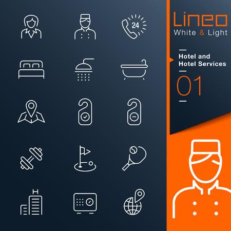 Lineo White Light - Hotel-und Hotel-Dienstleistungen Umriss-Symbole Illustration