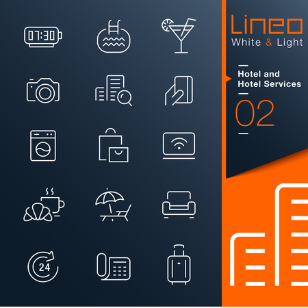 hotel icon: Lineo White   Light - Hotel and Hotel Services outline icons