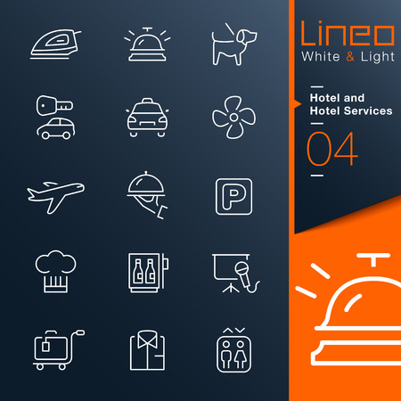 Lineo White   Light - Hotel and Hotel Services outline icons Vector