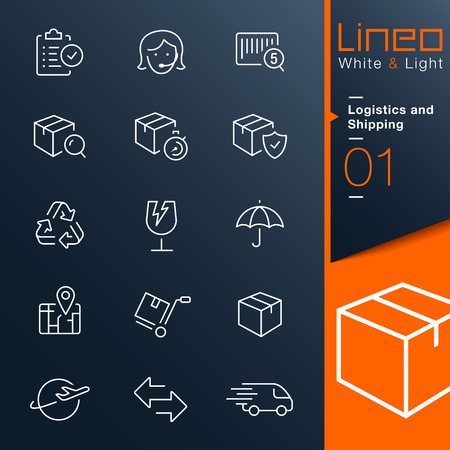 commerce and industry: Lineo White Light - Logistics and Shipping outline icons