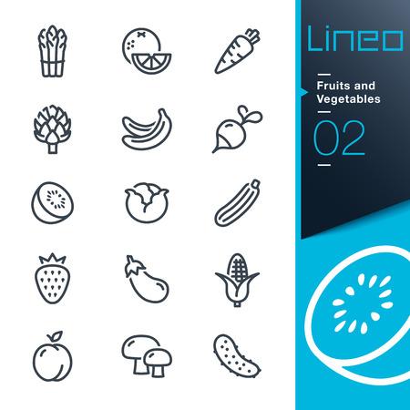 zanahoria: Lineo - Frutas y Verduras describen los iconos Vectores