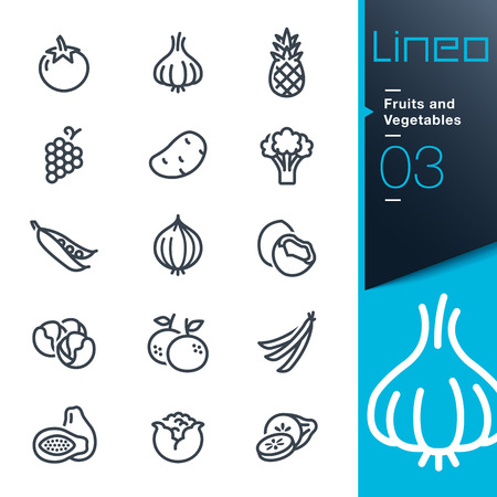 brocoli: Lineo - Frutas y Verduras describen los iconos Vectores
