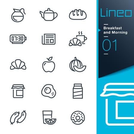 Lineo - Petit déjeuner et matinée contour icônes Illustration