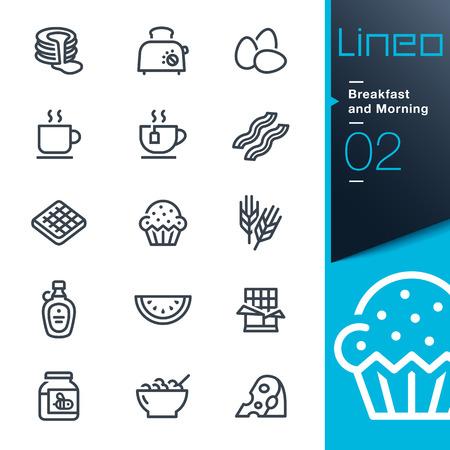 Lineo - Ontbijt en Morning overzicht iconen Stock Illustratie