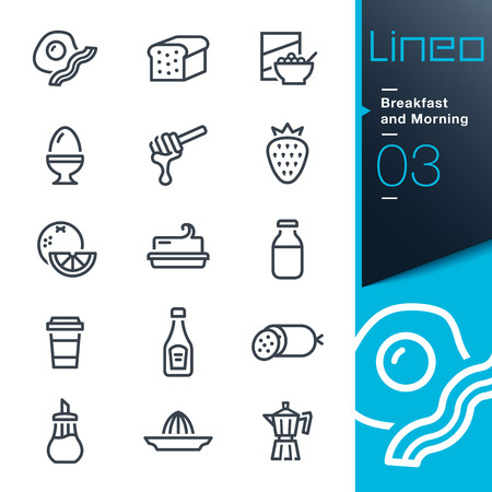 bread maker: Lineo - Breakfast and Morning outline icons Illustration