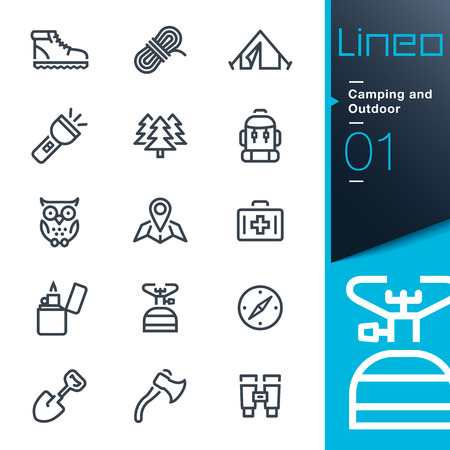 people hiking: Lineo - Camping and Outdoor outline icons