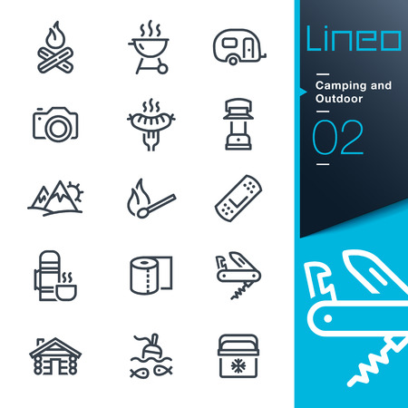 Lineo - Camping und Outdoor-Umriss-Symbole Illustration