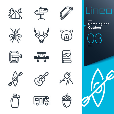 Lineo - Camping Outdoor overzicht iconen Stock Illustratie