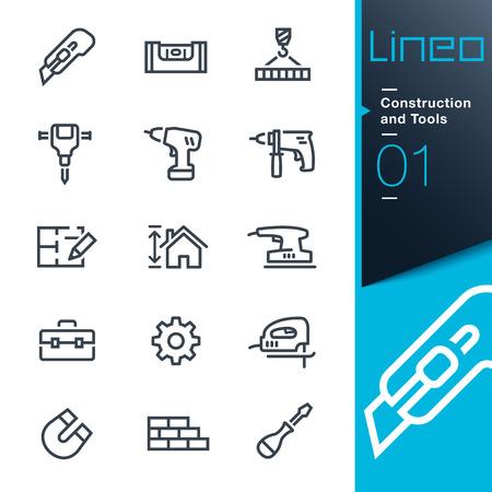 presslufthammer: Lineo - Konstruktion und Werkzeuge Umriss Symbole Illustration