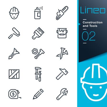 Lineo - Costruzione e strumenti di contorno icone Archivio Fotografico - 29466111