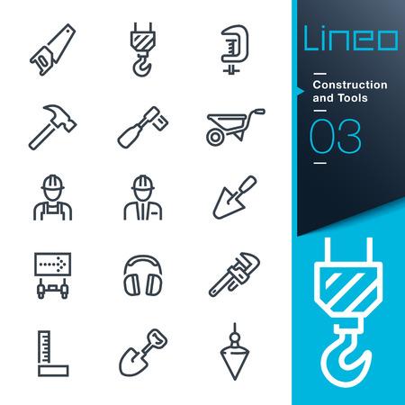 Lineo - Konstruktion und Werkzeuge Umriss Symbole Illustration