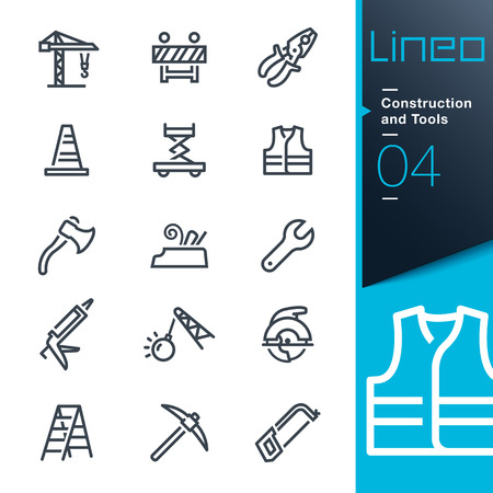 Lineo - Bouw en gereedschap schets iconen Stock Illustratie