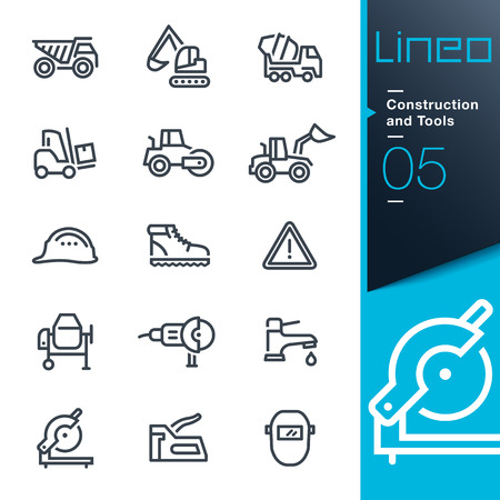 excavator: Lineo - Construction and Tools outline icons