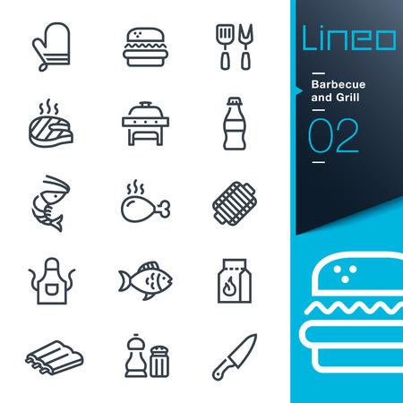 peces: Lineo - barbacoa y parrilla iconos de esquema