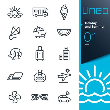 Lineo - Vacanze estive e contorno icone Vettoriali